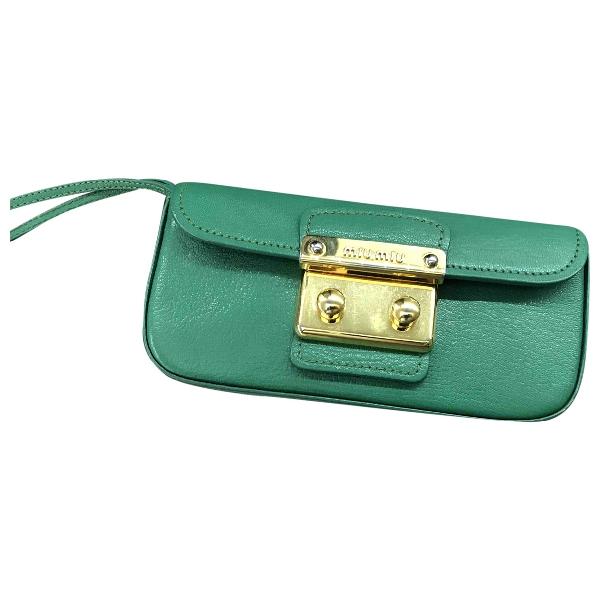 Miu Miu Madras Green Leather Clutch Bag