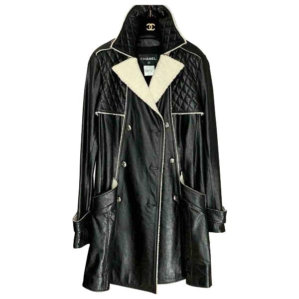 Chanel Black Leather Coat