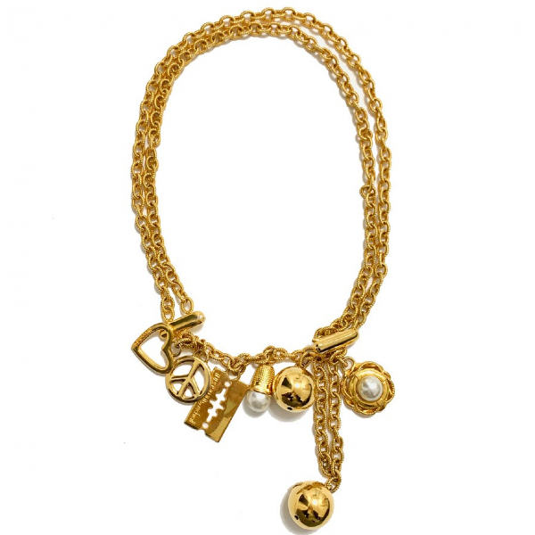 Moschino Gold Metal Long Necklace