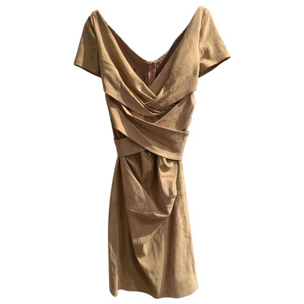 Talbot Runhof Beige Leather Dress