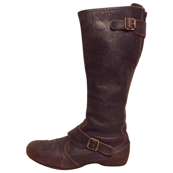 Ash Brown Leather Boots