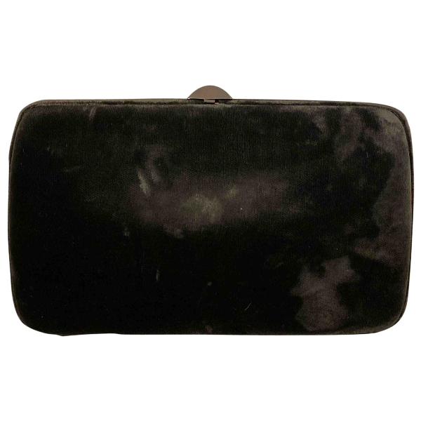 Sergio Rossi Grey Velvet Clutch Bag