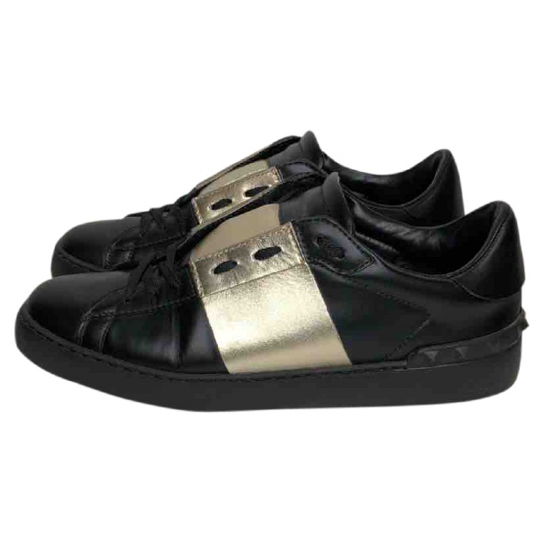 Valentino Garavani Open Black Leather Trainers