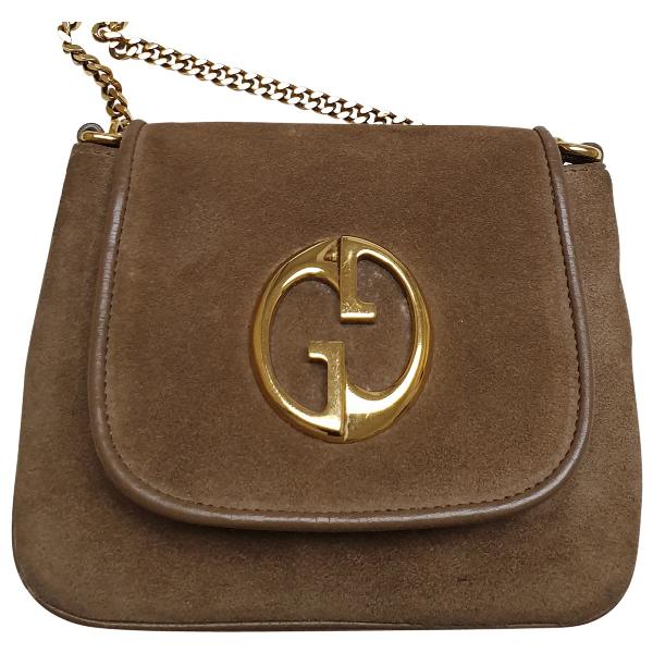 Gucci 1973 Beige Suede Handbag