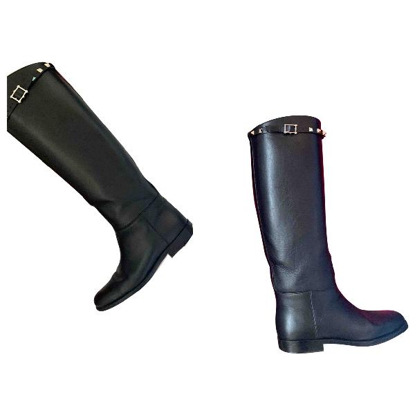 Valentino Garavani Rockstud Black Leather Boots