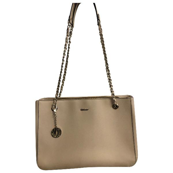 Dkny Ecru Leather Handbag