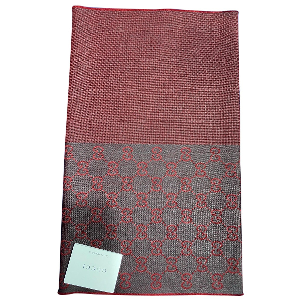 Gucci Burgundy Wool Scarf & Pocket Squares