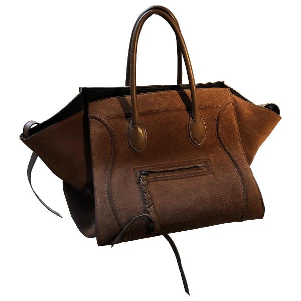 Celine Luggage Phantom Brown Suede Handbag