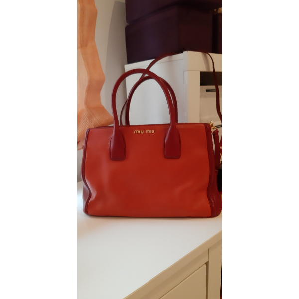 Miu Miu Orange Leather Handbag