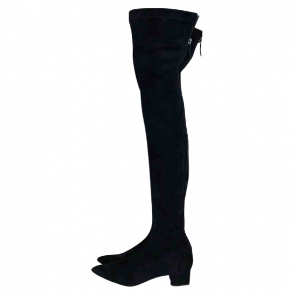 Chanel Black Suede Boots