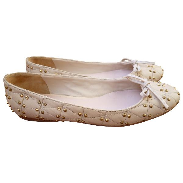 Miu Miu Ecru Leather Ballet Flats