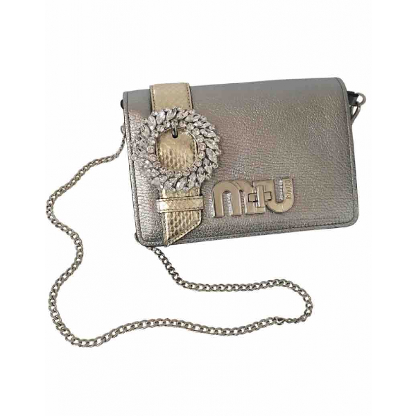 Miu Miu My Miu Silver Leather Handbag