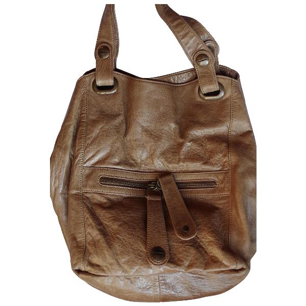 Gerard Darel Tote Flower Camel Leather Handbag