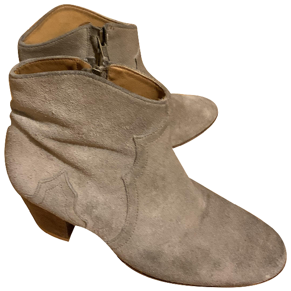 Isabel Marant Dicker Beige Suede Ankle Boots
