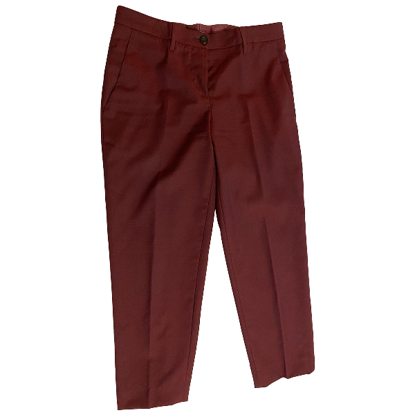 Miu Miu Burgundy Wool Trousers
