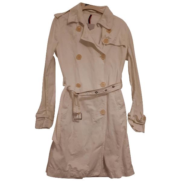 Moncler Long White Cotton Coat