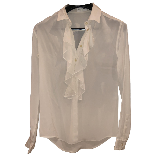 Saint Laurent White Silk  Top
