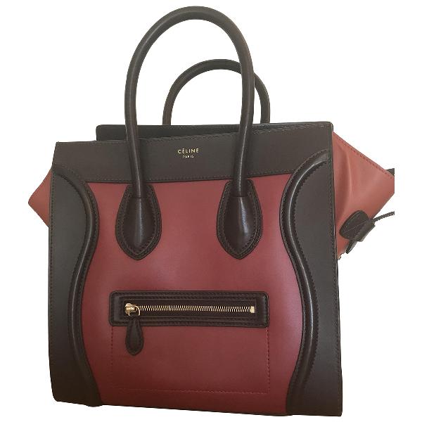 Celine Luggage Burgundy Leather Handbag