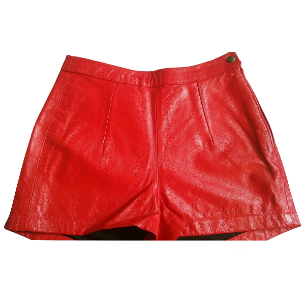 Agolde Red Leather Shorts