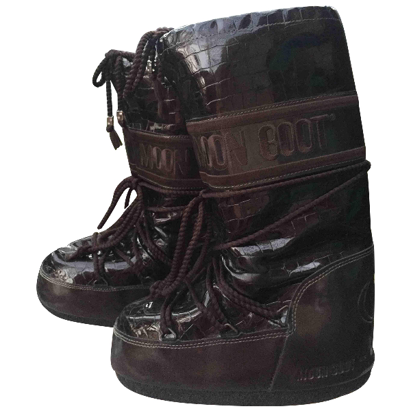Moon Boot Brown Rubber Ankle Boots