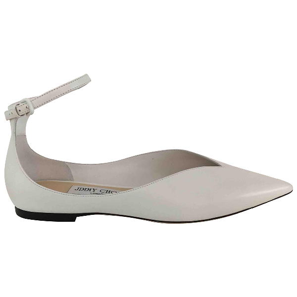 Jimmy Choo White Leather Ballet Flats