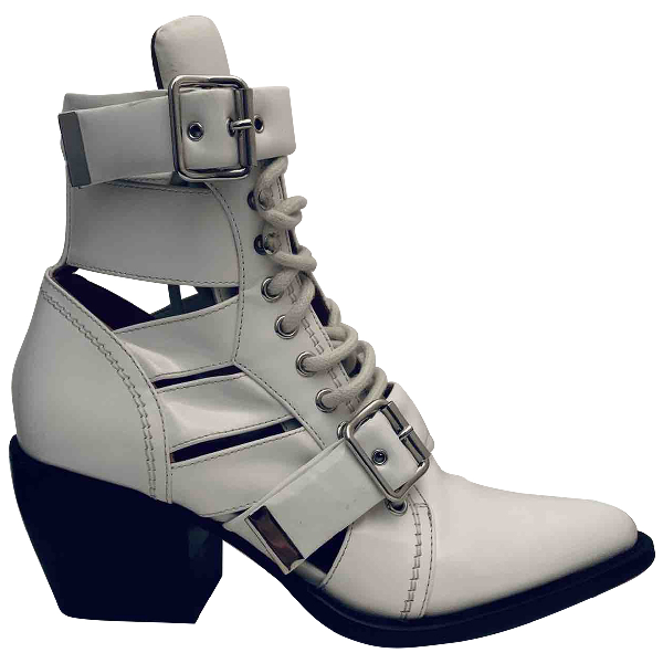 ChloÉ Rylee White Leather Ankle Boots