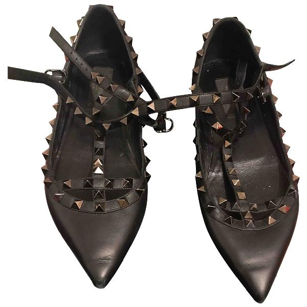 Valentino Garavani Rockstud Black Leather Ballet Flats