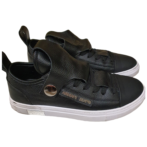 Armani Jeans Black Leather Trainers