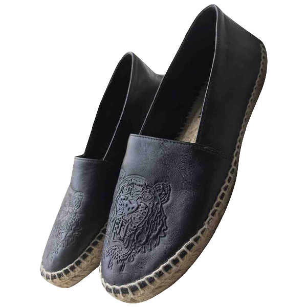 Kenzo Black Leather Espadrilles