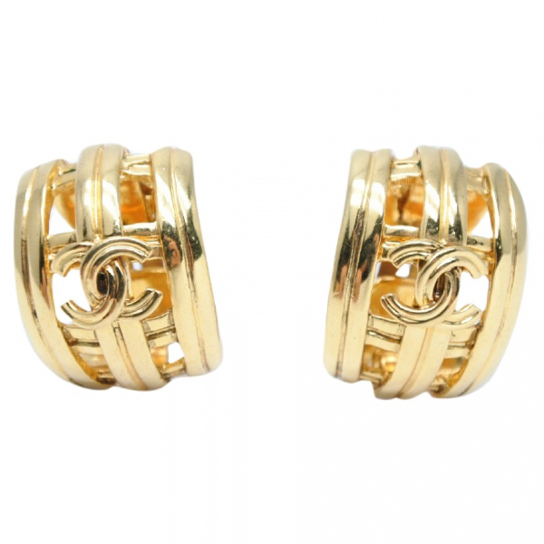 Chanel Cc Gold Gold Plated Earrings