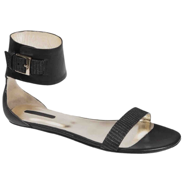 Longchamp Black Leather Sandals