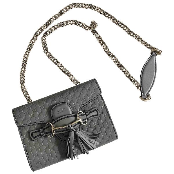 Gucci Emily Grey Leather Handbag