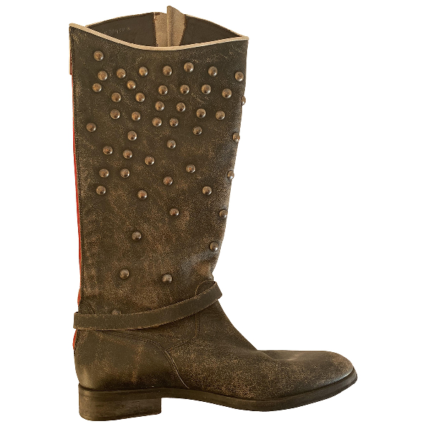 Golden Goose Anthracite Leather Boots