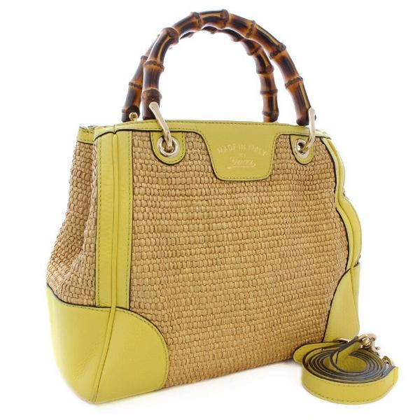 Gucci Bamboo Yellow Wicker Handbag