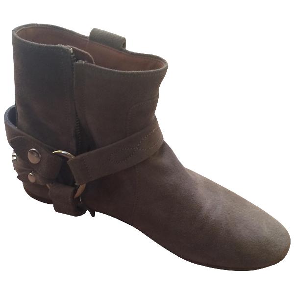 Isabel Marant Gaucho Khaki Suede Ankle Boots