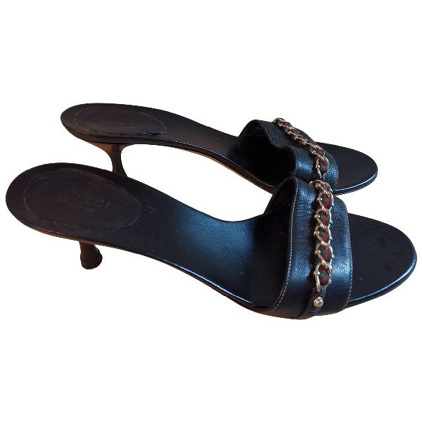 Gucci Black Leather Sandals
