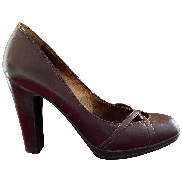 Sergio Rossi Brown Leather Heels