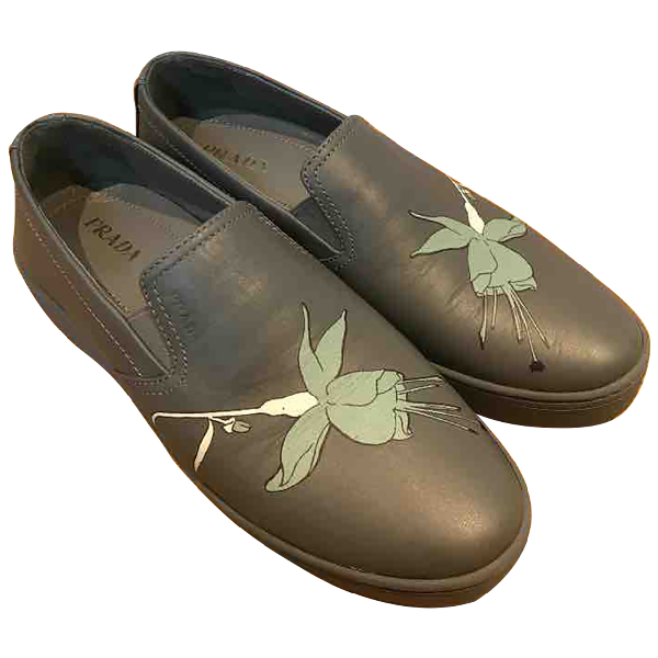 Prada Grey Leather Flats