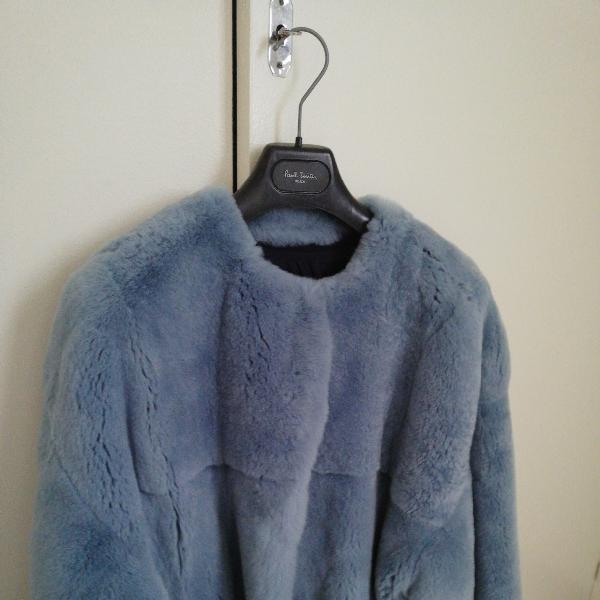 Yves Salomon Blue Rabbit Leather Jacket