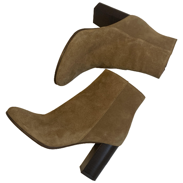Maje Beige Suede Ankle Boots