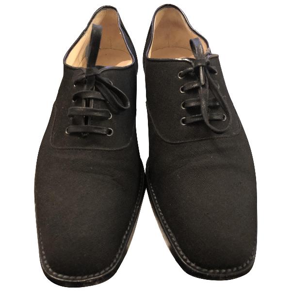 Manolo Blahnik Black Cloth Lace Ups