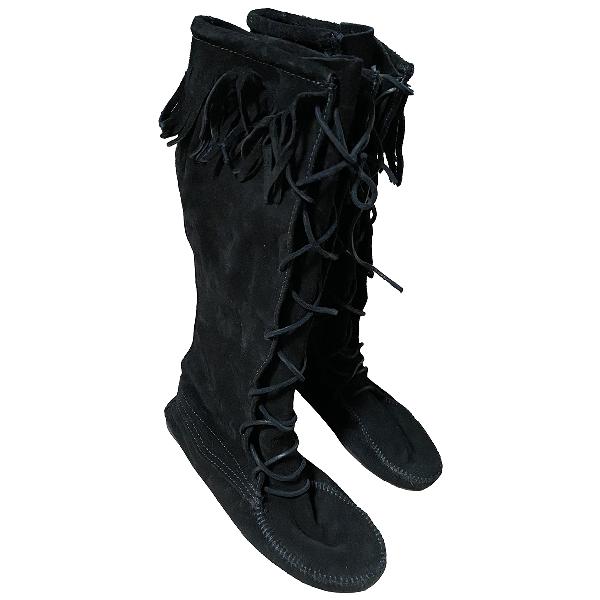 Minnetonka Black Suede Boots