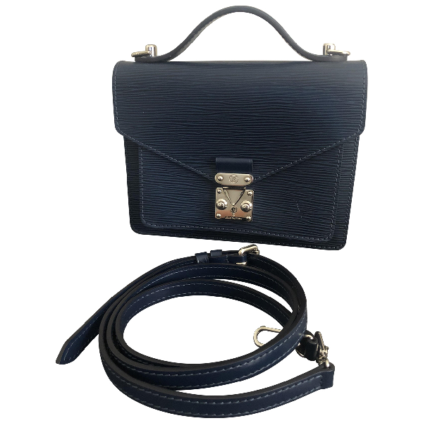 Louis Vuitton Monceau Navy Leather Handbag