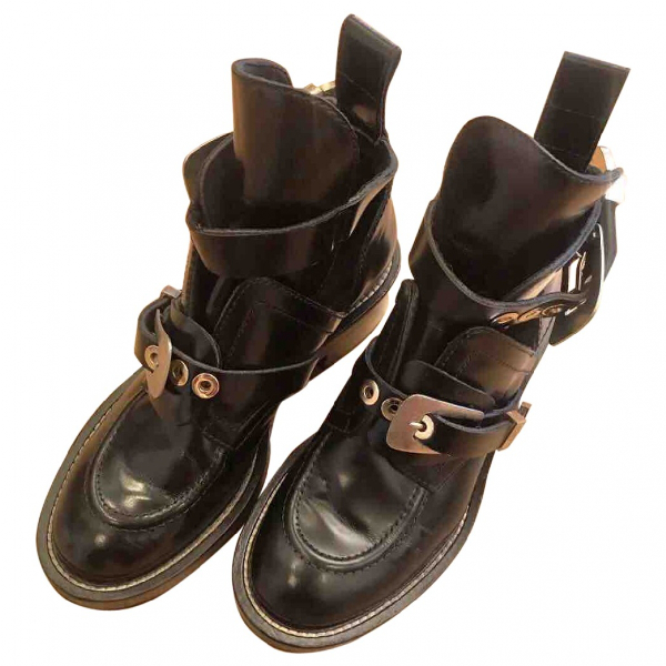 Balenciaga Ceinture Black Leather Ankle Boots