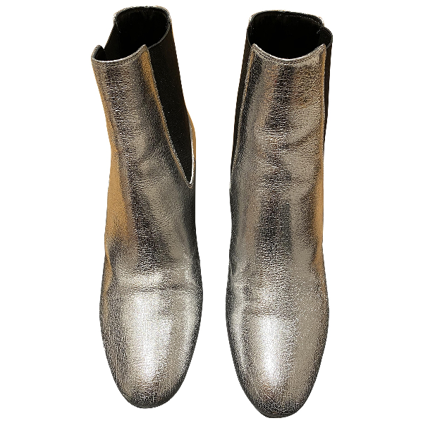 Saint Laurent Loulou Silver Leather Ankle Boots