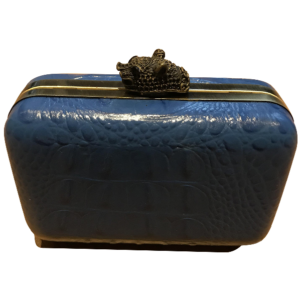House Of Harlow 1960 Blue Leather Clutch Bag