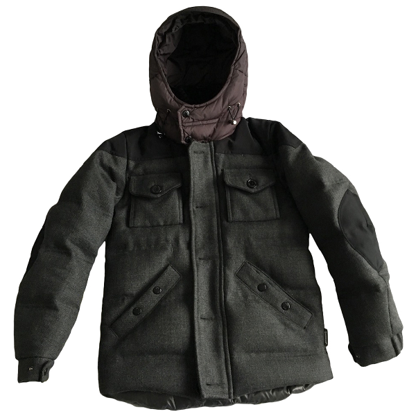 Moncler Classic Anthracite Wool Coat