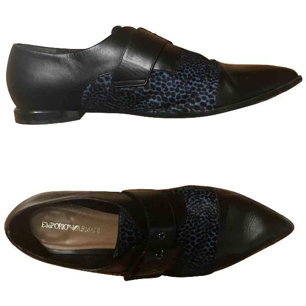 Emporio Armani Black Leather Flats