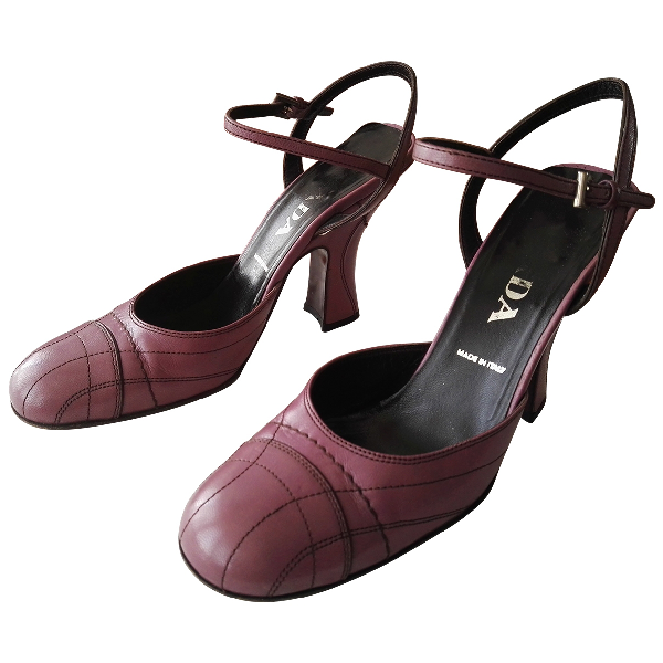 Prada Mary Jane Purple Leather Heels