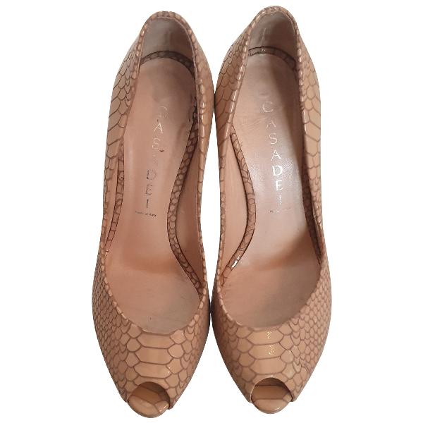 Casadei Camel Leather Heels